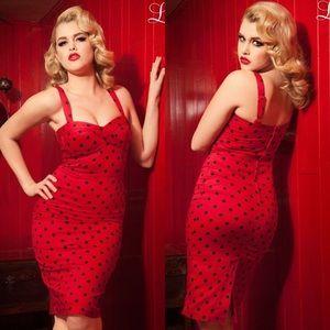Pinup Girl Deadly Dames Red Polka Dot Vamp Dress